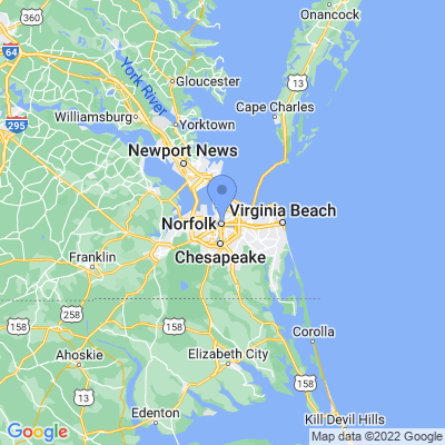 Map of truck driving jobs in Norfolk, Virginia